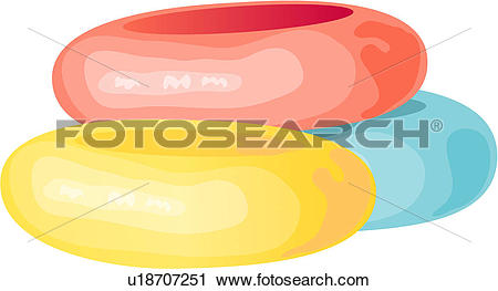 Clipart of three, seaside, rubber rings, rubber ring, beach.