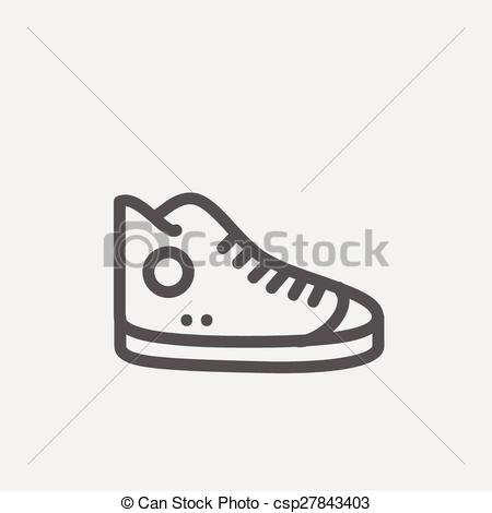 Vector Clipart of High cut rubber shoes thin line icon.