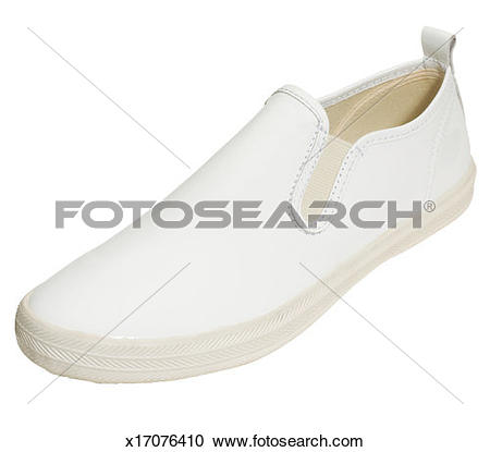 Stock Photography of White shiny slip on shoe with rubber sole.
