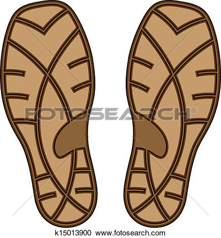 Clipart of vector brown rubber shoe sole k15013900.