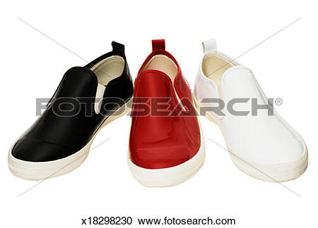 Stock Photography of Black, red, and white shiny slip on shoes.