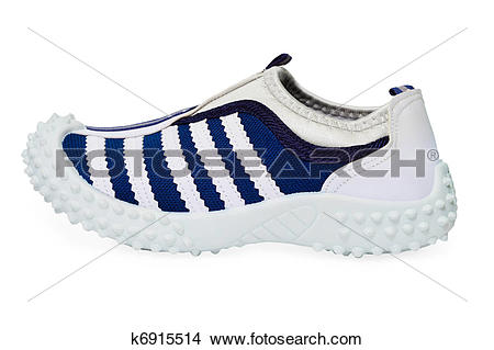 Stock Photo of Sports shoe made ??of cloth with rubber sole.