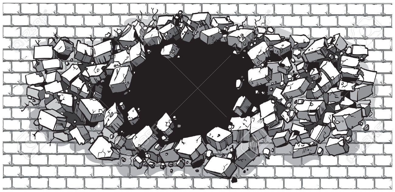 Vector Cartoon Clip Art Illustration Of A Hole In A Wide Brick.