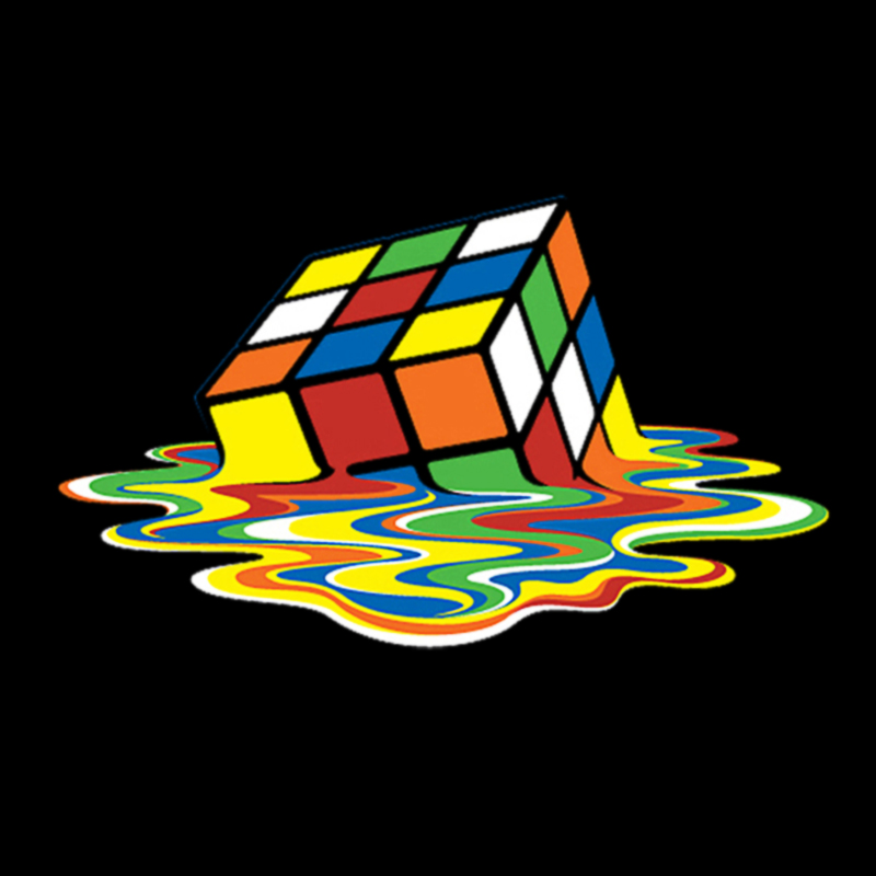 Melted Rubik Cube Logo Graphic T Shirt.
