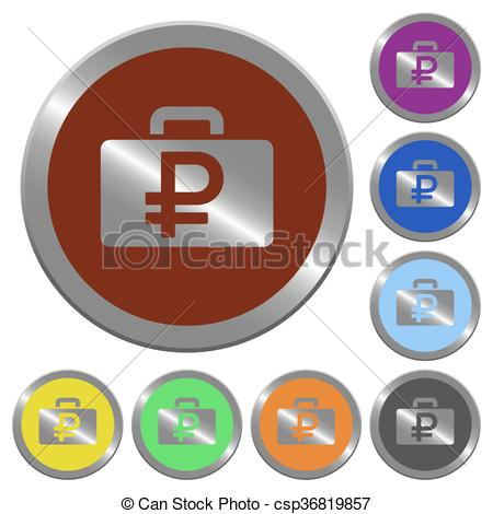 Clipart Vector of Color ruble bag buttons.