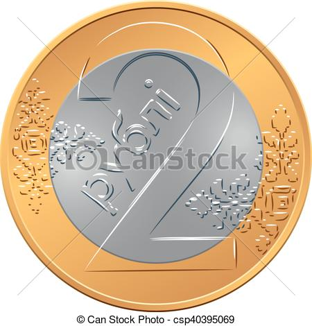 Clip Art Vector of reverse new Belarusian Money two ruble coin.