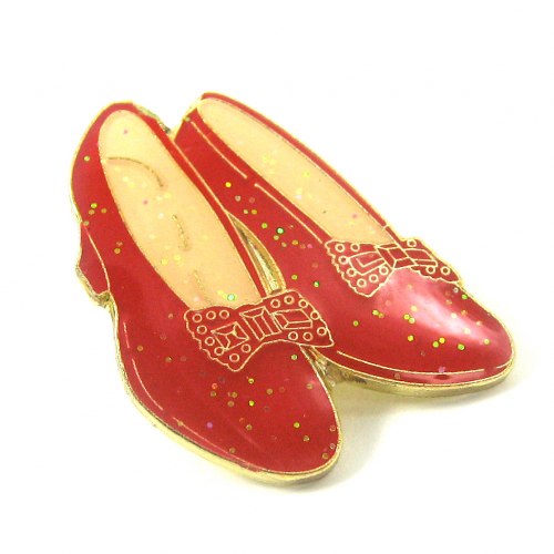 Ruby Slippers pin badge, gold plated detailing with red.