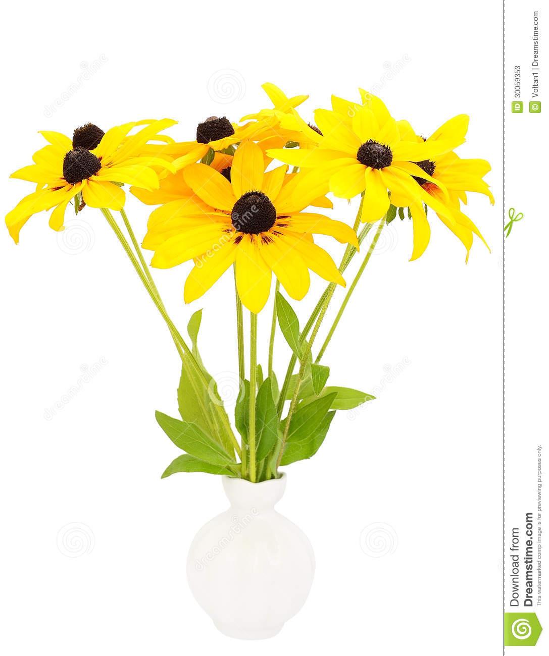 Yellow Rudbeckia Flowers In Ceramic Vase Stock Photos.