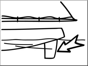 Clip Art: Basic Words: Rudder B&W Unlabeled.