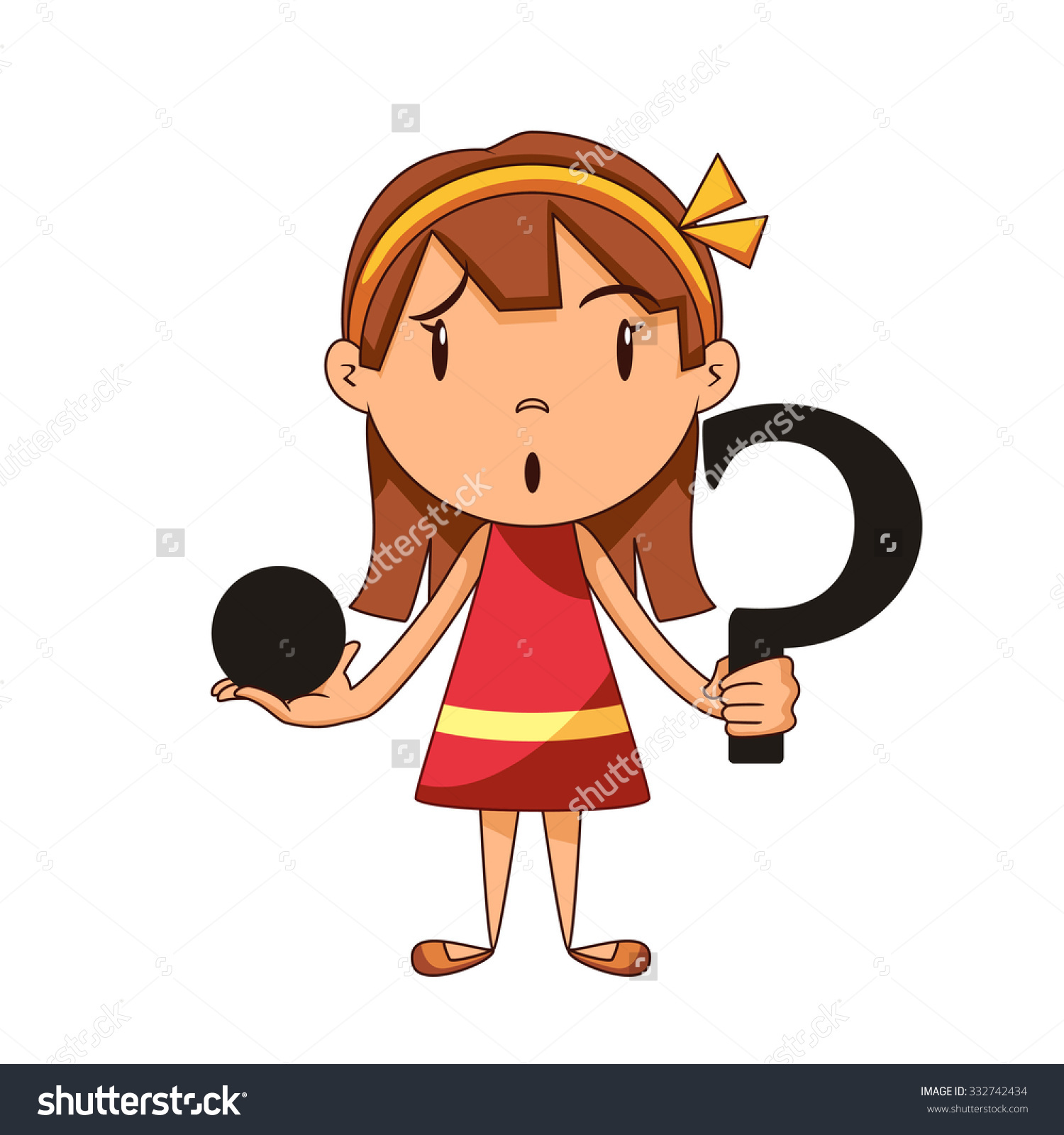 Confused Girl Riddle Vector Illustration Stock Vector 332742434.