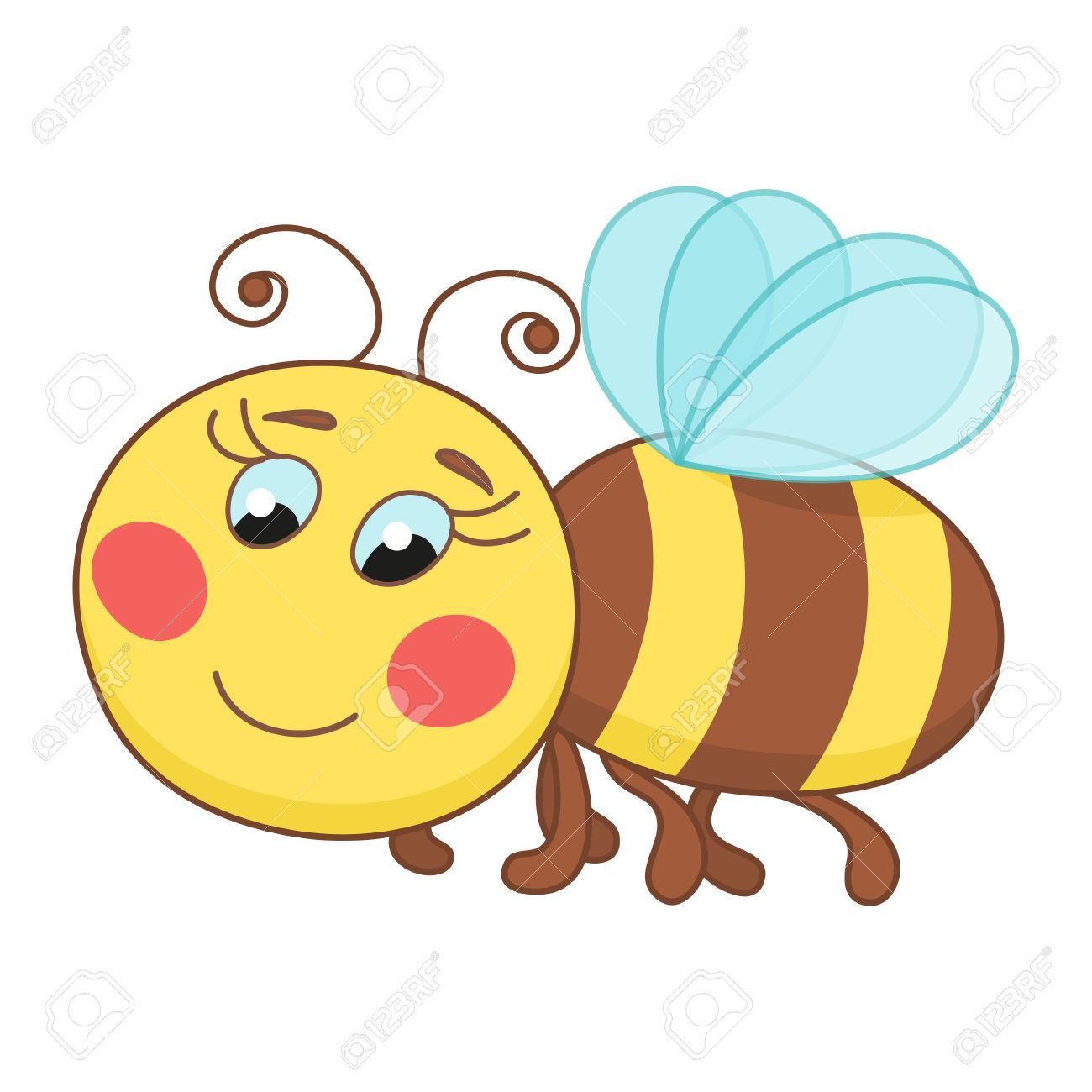 Cute Cartoon Bee, Funny Ruddy Bee Flying Royalty Free Cliparts.