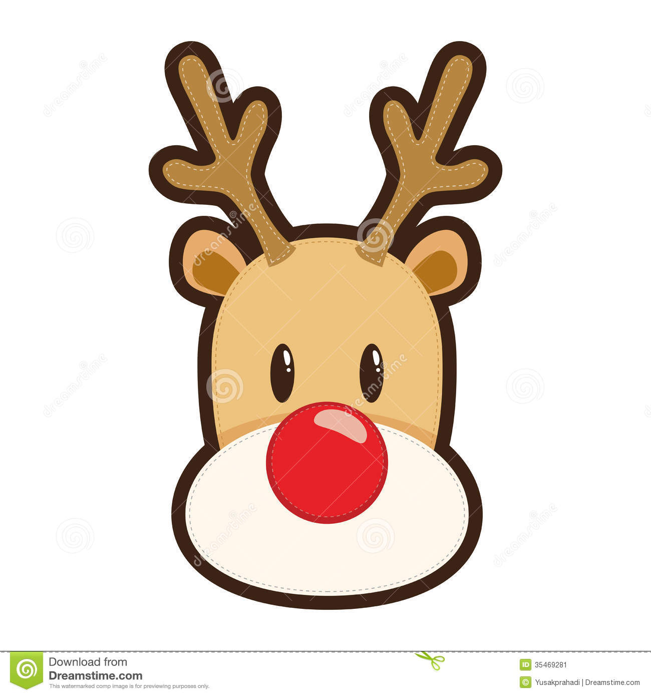 Cartoon rudolph the red nosed reindeer white clipart.