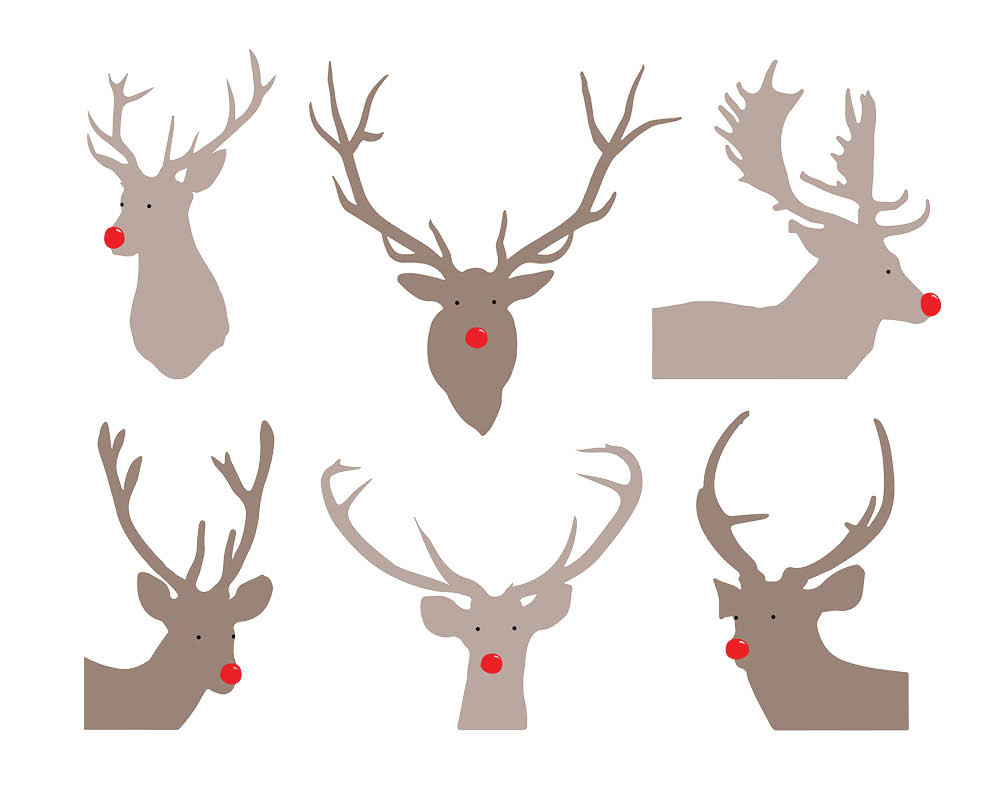 Reindeer Silhouette Cliparts.