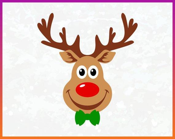 Reindeer Rudolph svg Red Nosed Reindeer SVG clipart.