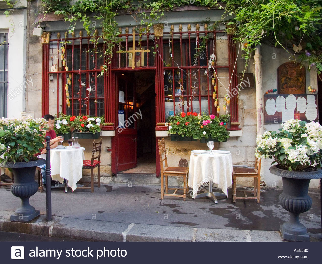 Restaurant On Rue Chanoinesse Near Cathedral Notre Dame Paris.