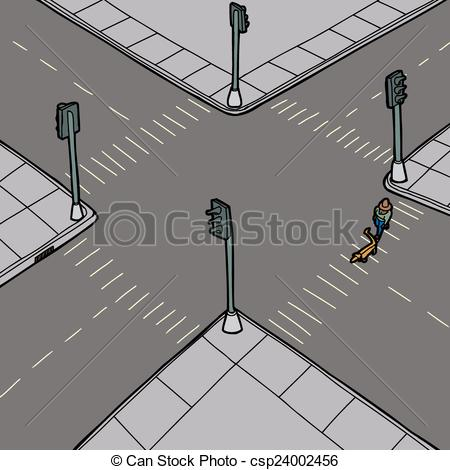 Clipart Vector of Dog Walker Crossing Street.