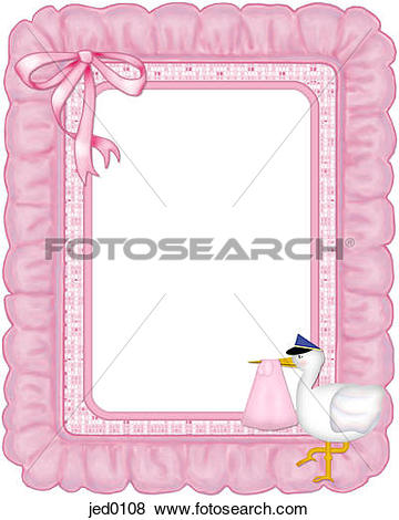 Stock Illustration of Pink ruffled frame with a stork on it.