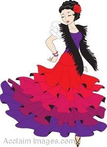 Clipart Pictuer of a Female Pasa Doble or Flamenco Dancer.