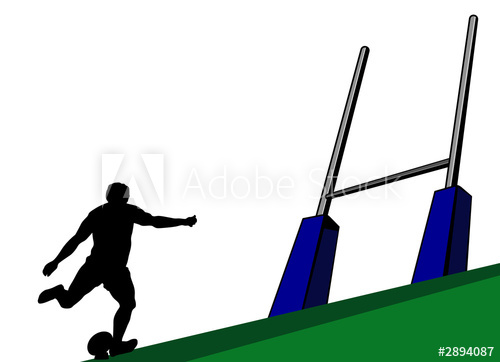 rugby player kicking at goal post.