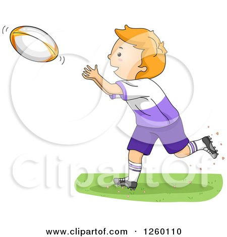 Clipart of a Caucasian Boy Holding a Rugby Football.