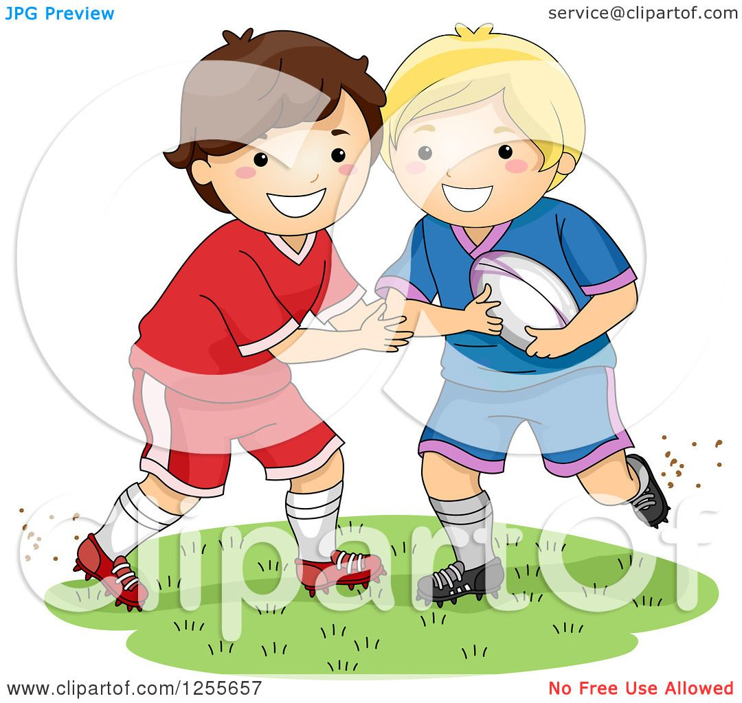 Clipart of White Boys Playing Rugby Football.