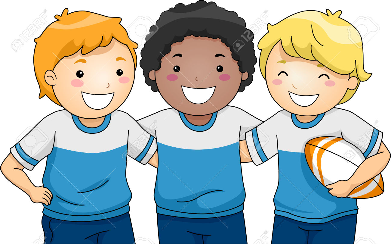 Illustration Featuring A Group Of Smiling Boys Wearing Rugby.