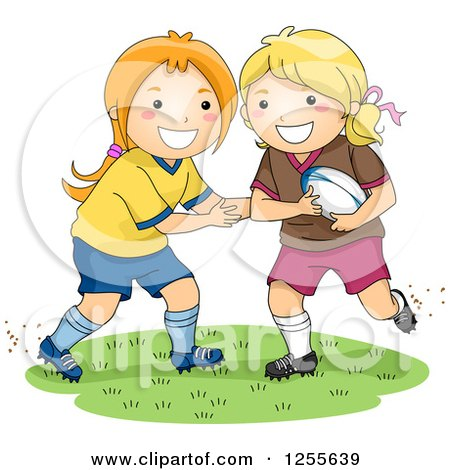 Clipart of a Caucasian Boy Running with a Rugby Football.