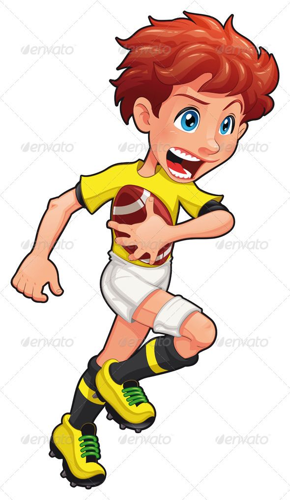Rugby player. #GraphicRiver Rugby player. Vector cartoon and.