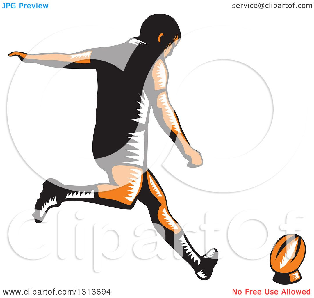 Clipart of a Retro Woodcut Male Rugby Player Kicking.