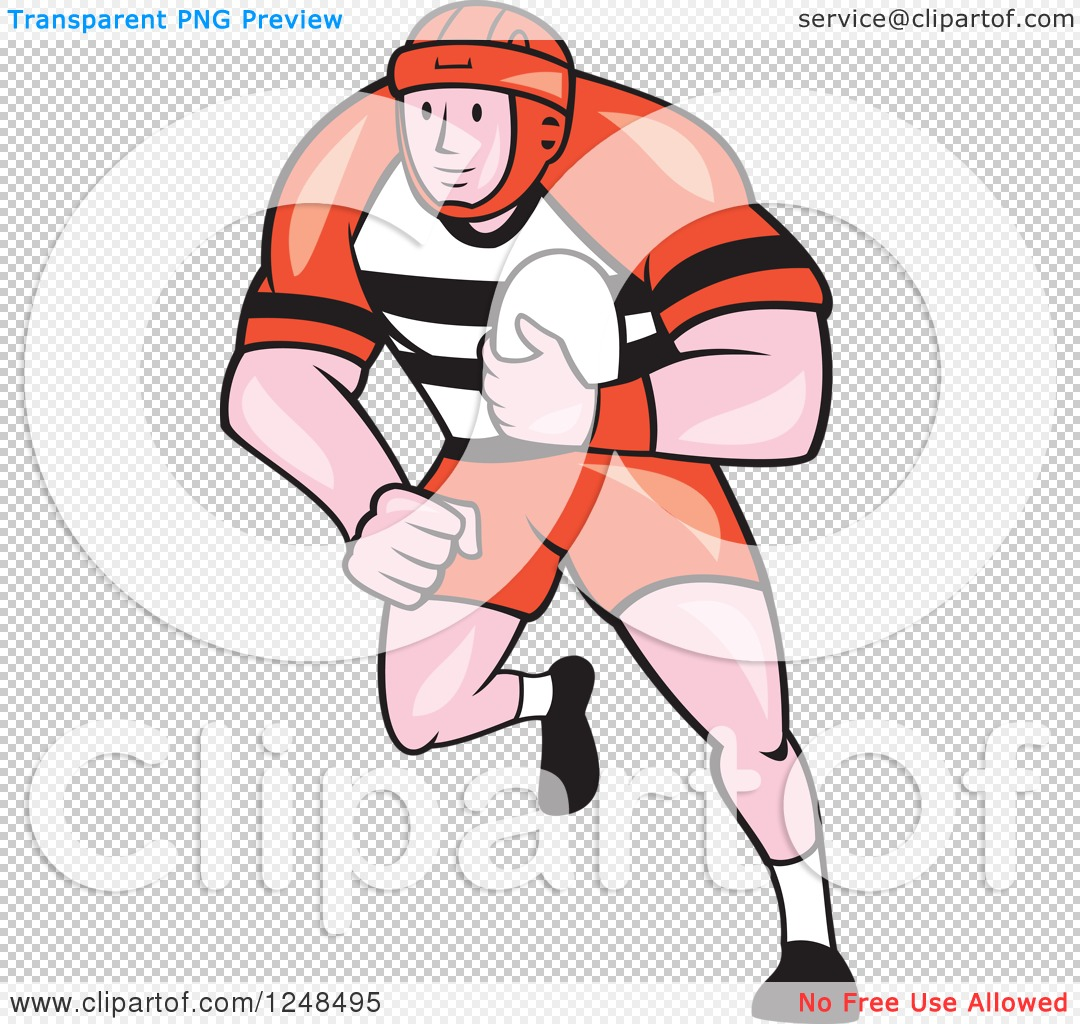 Clipart of a Cartoon Male Rugby Player Running.
