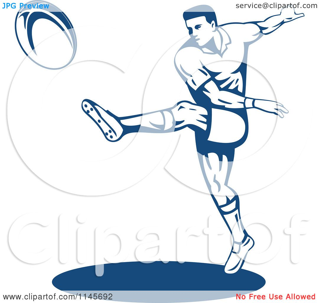 Clipart of a Retro Blue Rugby Player Kicking.