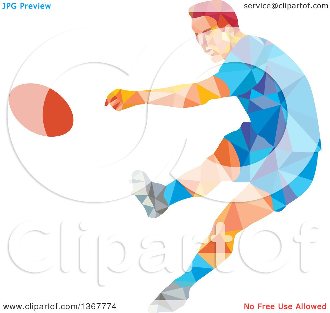 Clipart of a Retro Low Poly Caucasian Male Rugby Player Kicking.