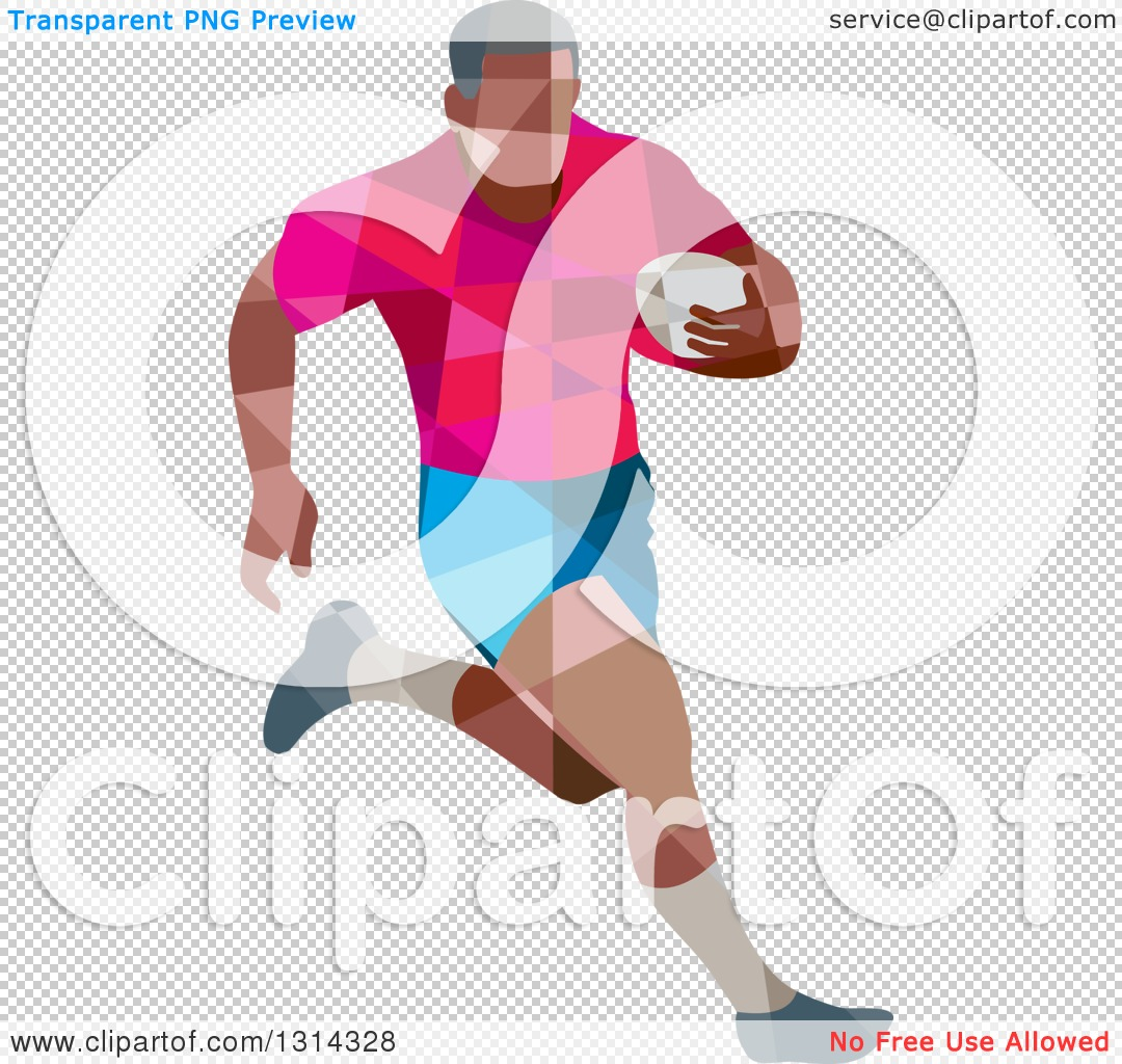 Clipart of a Retro Geometric Low Poly Rugby Player Running.