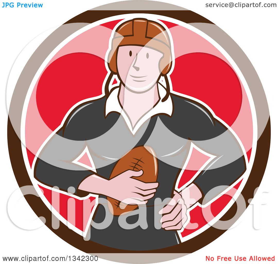 Clipart of a Retro Cartoon White Male Rugby Player Holding the.