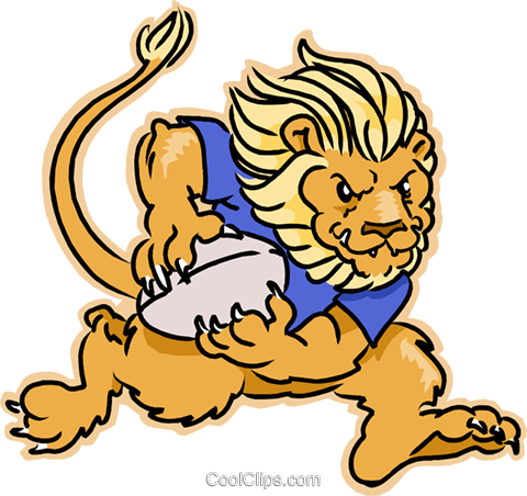 lion playing rugby Royalty Free Vector Clip Art illustration.
