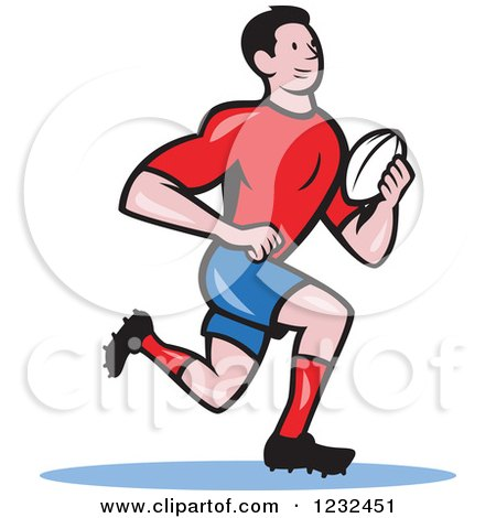Clipart of a Watercolor Caricature Styled Rugby Player Running.