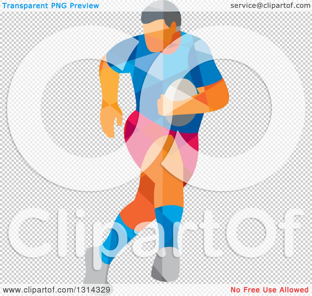 Clipart of a Retro Geometric Low Poly Rugby Player Running 2.