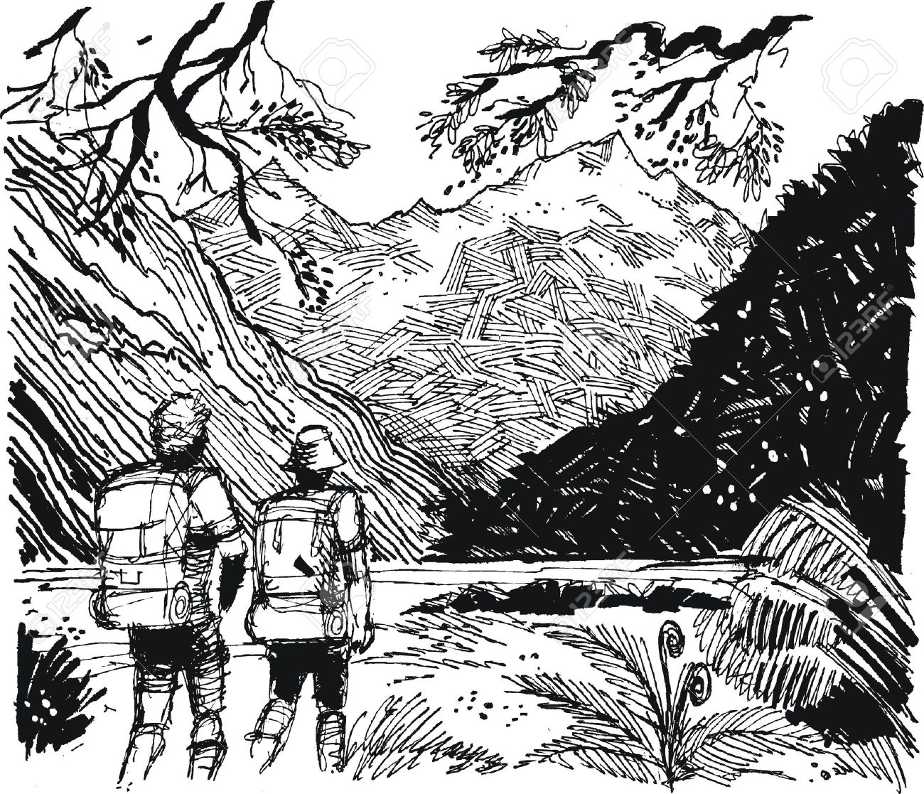 Vector Illustration Of Hikers In Mountain Valley Royalty Free.