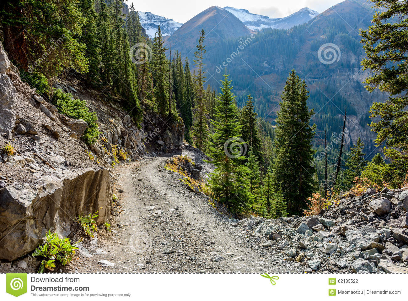 Rugged High Mountain Road Stock Photo.