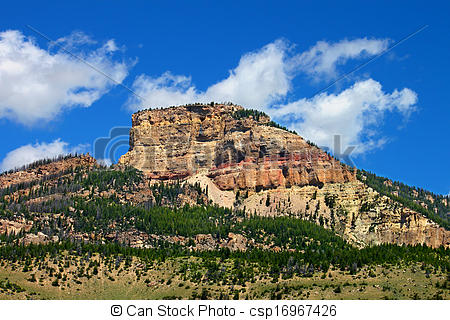 Stock Photo of Rugged Mountain Scenery of Wyoming.