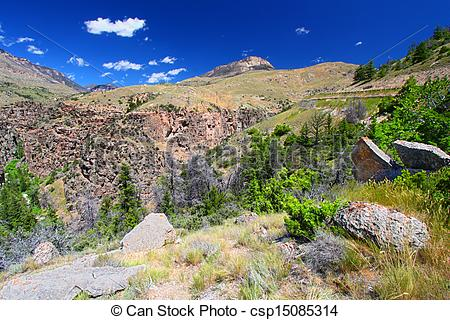 Stock Photography of Rugged Mountain Scenery of Wyoming.