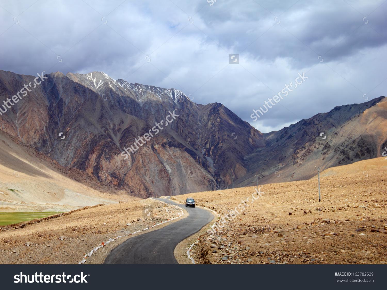Desert Scenic View High Mountain Winding Stock Photo 163782539.