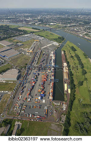 "Picture of ""Aerial view, Rheinhausen Logport, container terminal."
