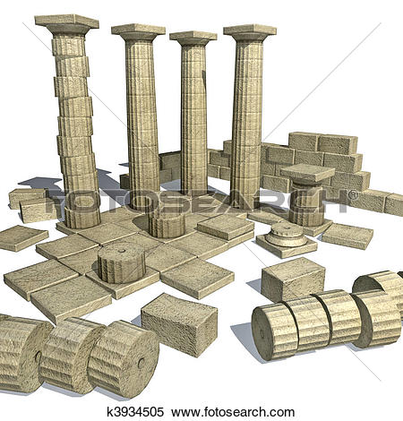 Stock Illustration of 3d render of Greek ruins with Parth k3934505.