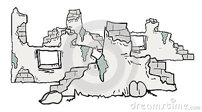 Cartoon Ruins Of Houses Stock Vector.