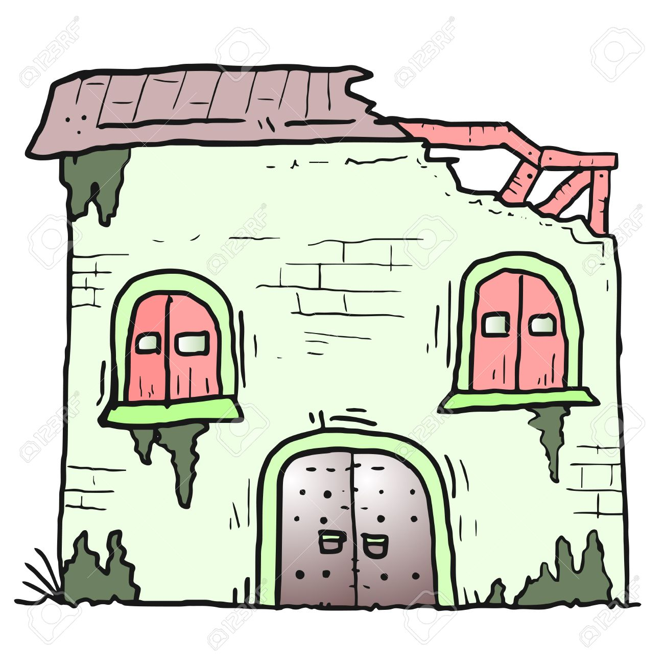 Destroyed house clipart.