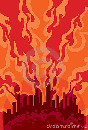 City on fire clipart.