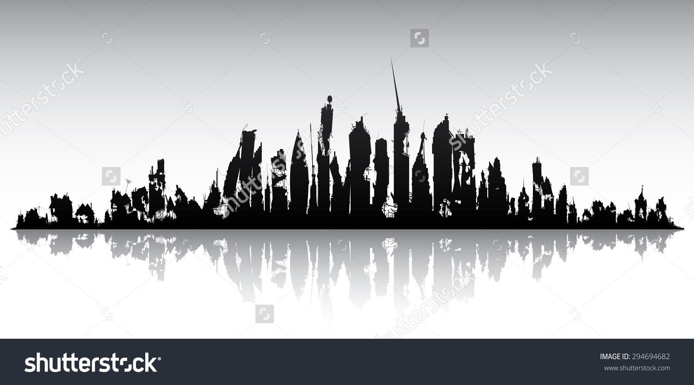 Skyline Ruined City Stock Vector 294694682.