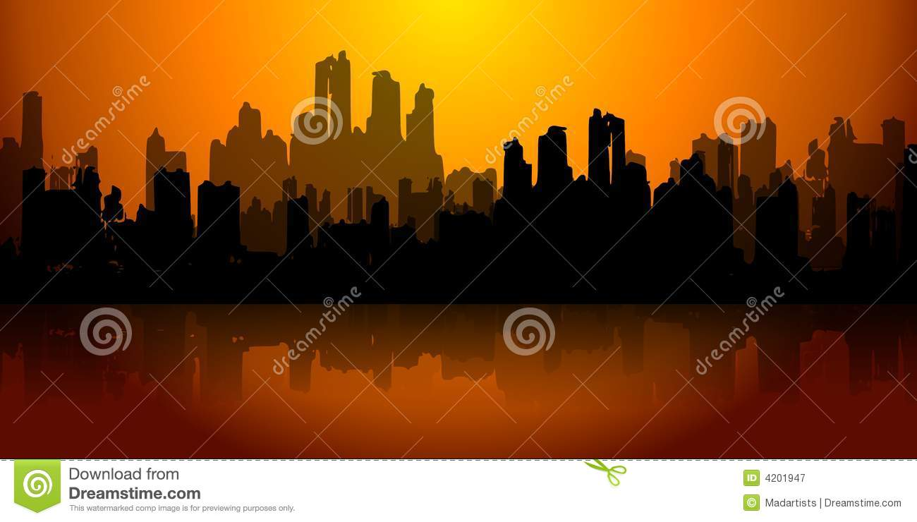 City In Ruins Dark Gold Red Skyline Royalty Free Stock Photography.