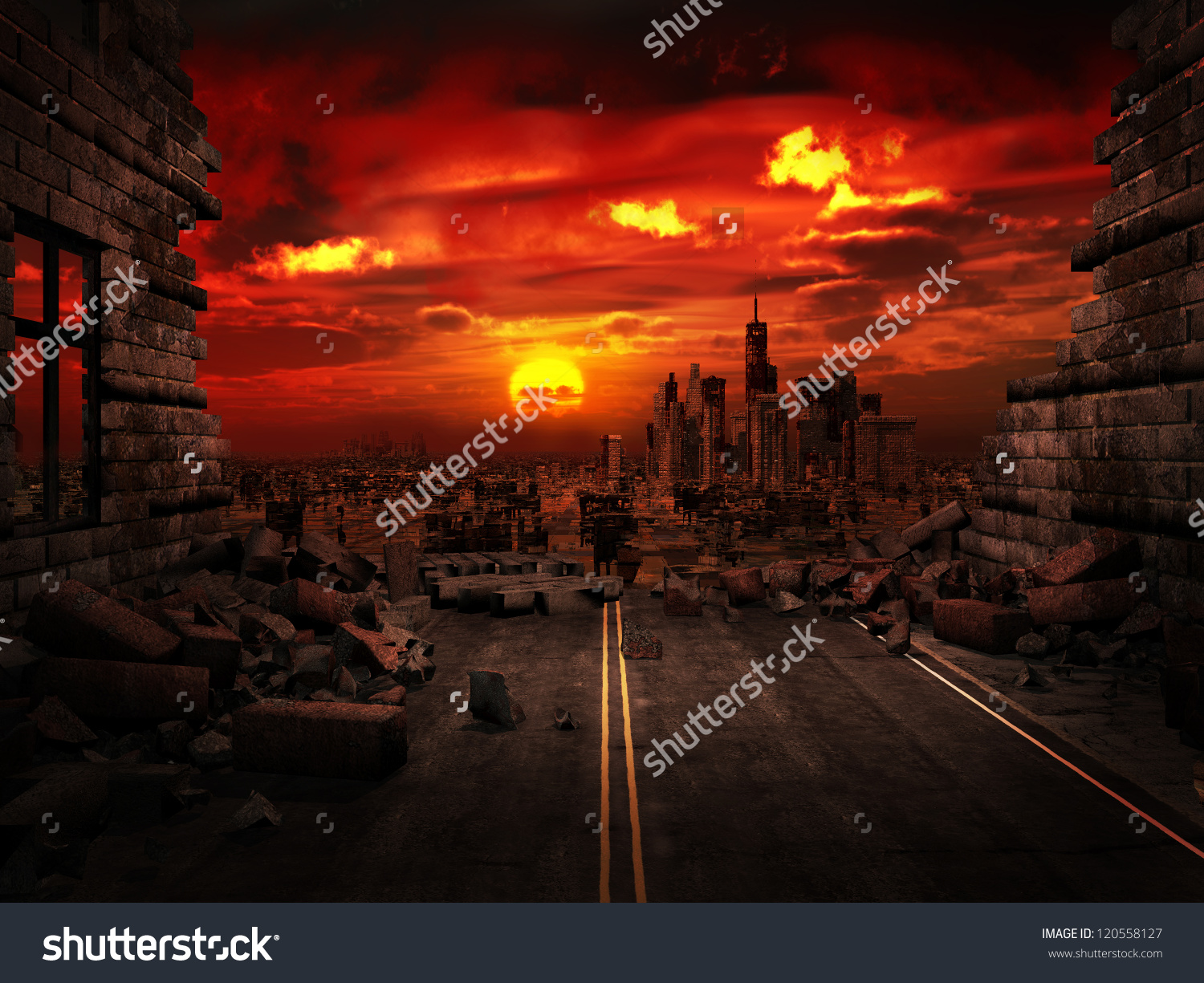 View Destroyed City Stock Illustration 120558127.